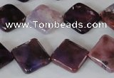 CAG4885 15 inches 14*14mm faceted diamond fire crackle agate beads