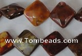 CAG4887 15 inches 14*14mm faceted diamond fire crackle agate beads