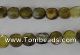 CAG4890 15 inches 8mm faceted coin fire crackle agate beads