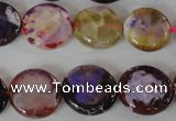 CAG4893 15 inches 15mm faceted coin fire crackle agate beads