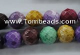 CAG4903 15.5 inches 12mm faceted round dyed white agate beads