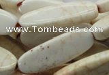 CAG4929 15.5 inches 10*30mm oval dyed white agate beads