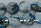 CAG4935 15.5 inches 15mm flat round dyed Brazilian agate beads