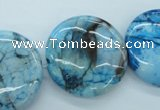 CAG4937 15.5 inches 25mm flat round dyed Brazilian agate beads