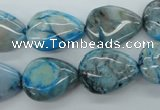 CAG4952 15.5 inches 13*18mm flat teardrop dyed Brazilian agate beads
