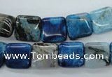 CAG4957 15.5 inches 12*12mm square dyed Brazilian agate beads