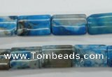 CAG4967 15.5 inches 10*15mm flat tube dyed Brazilian agate beads