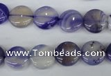 CAG4995 15.5 inches 12mm flat round agate gemstone beads wholesale