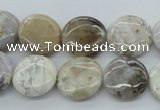 CAG5032 15.5 inches 16mm flat round natural Brazilian agate beads