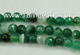 CAG5120 15.5 inches 4mm faceted round line agate beads wholesale