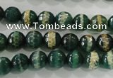 CAG5141 15 inches 8mm faceted round tibetan agate beads wholesale