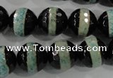 CAG5156 15 inches 12mm faceted round tibetan agate beads wholesale