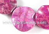 CAG516 15 inches 25*25mm lotus leaf  fuchsia crazy lace agate beads