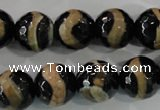 CAG5168 15 inches 14mm faceted round tibetan agate beads wholesale