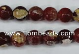 CAG5188 15 inches 10mm faceted round fire crackle agate beads