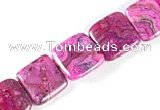 CAG519 15 inches 15*15mm square  fuchsia crazy lace agate beads