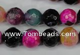 CAG5194 15 inches 12mm faceted round fire crackle agate beads
