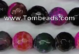 CAG5195 15 inches 14mm faceted round fire crackle agate beads