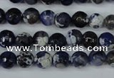 CAG5222 15 inches 8mm faceted round fire crackle agate beads