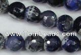 CAG5224 15 inches 12mm faceted round fire crackle agate beads
