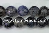 CAG5229 15 inches 12mm faceted round fire crackle agate beads