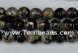 CAG5232 15 inches 10mm faceted round fire crackle agate beads