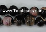 CAG5233 15 inches 12mm faceted round fire crackle agate beads
