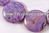 CAG527  15 inches 18mm coin purple crazy lace agate beads wholesale