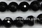CAG5276 15.5 inches 14mm faceted round black line agate beads