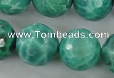 CAG5315 15.5 inches 16mm faceted round peafowl agate gemstone beads