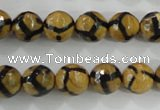 CAG5344 15.5 inches 10mm faceted round tibetan agate beads wholesale