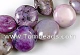 CAG535 15 inches 11mm flat round purple crazy lace agate beads wholesale