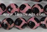 CAG5350 15.5 inches 14mm faceted round tibetan agate beads wholesale