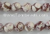 CAG5353 15.5 inches 10mm faceted round tibetan agate beads wholesale
