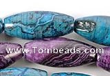 CAG537 15 inches 10*24mm rice purple & cyan crazy lace agate beads