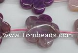 CAG5391 15.5 inches 24mm carved flower dragon veins agate beads