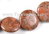 CAG541 15 inches 20mm coin mahogany crazy lace agate beads wholesale