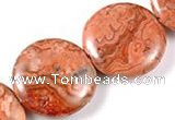 CAG542 15 inches 25mm coin mahogany crazy lace agate beads