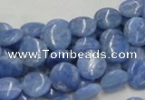 CAG558 16 inches 10mm flat round blue agate gemstone beads wholesale