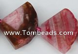 CAG5584 15 inches 30*40mm faceted triangle dragon veins agate beads