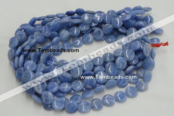 CAG560 16 inches 14mm flat round blue agate gemstone beads wholesale
