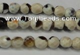CAG5650 15 inches 4mm faceted round fire crackle agate beads