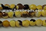 CAG5653 15 inches 4mm faceted round fire crackle agate beads