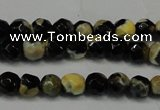 CAG5656 15 inches 4mm faceted round fire crackle agate beads