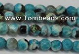 CAG5659 15 inches 4mm faceted round fire crackle agate beads