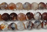 CAG5667 15 inches 6mm faceted round fire crackle agate beads