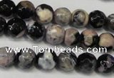 CAG5668 15 inches 6mm faceted round fire crackle agate beads