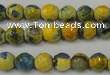 CAG5673 15 inches 6mm faceted round fire crackle agate beads