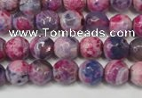 CAG5674 15 inches 6mm faceted round fire crackle agate beads