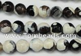 CAG5680 15 inches 8mm faceted round fire crackle agate beads